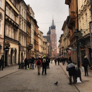Street leading to St. Mary's Church in Rynek Glowny (Market Square)