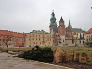 Wawel castle and cathedral from inside the courtyard