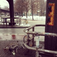 Second time we saw a crashed bicycle next to empty bottles of spirits - well East Berlin