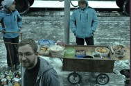Sellers of rock hard bread and mysterious mushy things greeted you like a ray of sunshine (as you can see) at many stops